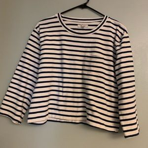 Madewell Cropped Stripped Sweatshirt Size S!!